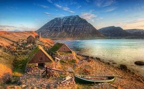 Wallpaper sea, boat, mountains, Iceland, coast, Iceland, Isafjordur