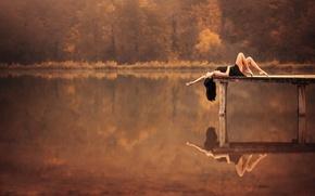 Picture autumn, nature, reflection, hair, morning, pier, legs, Leslie Boulnois