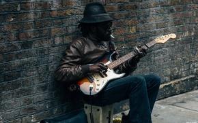 Picture street, guitar, Negro