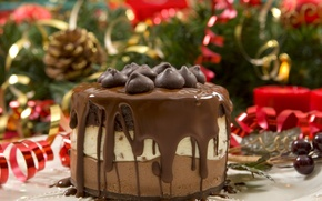 Picture new year, chocolate, layers, cream, dessert, Christmas, cake