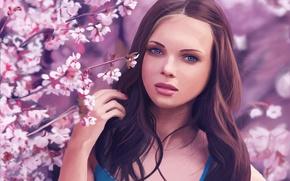 Picture trees, Girl, Sakura, Brown hair, Painting, Blooming