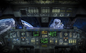 Picture space, the situation, astronaut, Astronaut, cabin, Shuttle