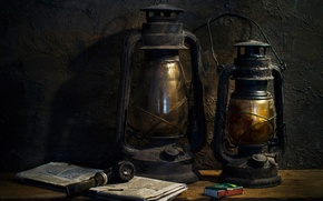Picture old, tube, lights, Still life, lanterns