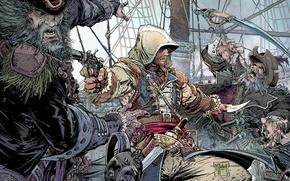 Picture weapons, ship, pirate, hood, beard, battle, poster, killer, assassin, poster, pistol, saber, Ubisoft Montreal, Edward …
