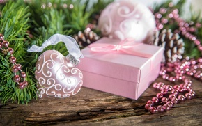 Picture winter, snow, decoration, holiday, box, gift, heart, Happy New Year, box, heart, winter, snow, Merry …