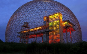 Picture lights, design, ball, Canada, Montreal, biosphere Museum