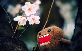 Picture macro, flowers, branches, photo, tree, Wallpaper, toy, pictures, wallpapers, character, DOMO-kun, Domo-kun