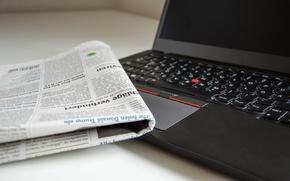Wallpaper newspaper, laptop, bokeh