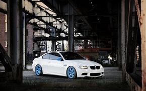 Picture white, bridge, the city, the building, BMW, BMW, white, E92, IND