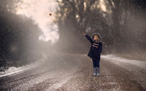 Picture road, autumn, snow, sheet, girl
