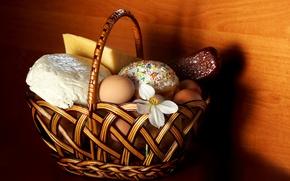 Wallpaper cake, Easter, basket, flowers