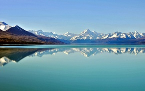 Picture the sky, water, mountains, reflection