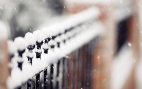 Picture winter, snowflakes, nature, the fence, focus, fence, is, snow, fence