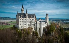 Picture field, Germany, Bavaria, Germany, home, panorama, Neuschwanstein Castle, trees, castle, Neuschwanstein, Bayern, river