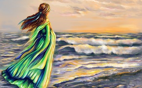 Picture sea, wave, the sky, girl, clouds, hair, back, art, ribbon, green dress, vetor