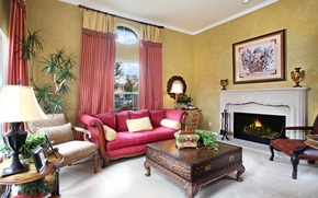 Picture flowers, sofa, furniture, carpet, plants, picture, chair, leather, Room, vase, fireplace, comfort, curtains