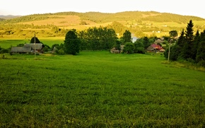 Picture mountains, nature, Village