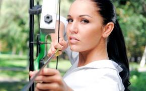 Picture green, white, women, look, bow, arrow, Archery