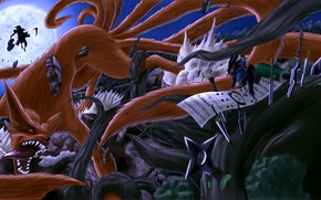 Picture night, weapons, the moon, art, battle, naruto, kyuubi, senju hashirama, uchiha powers, vinc3412