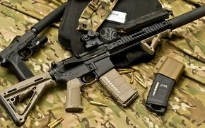 Picture gun, bag, cartridges, muffler, stores, assault rifle, Herstal