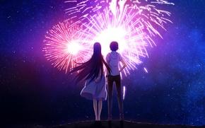 Picture the sky, stars, night, back, fireworks, two, date, art, grisa of no kajitsu, sasaki yumiko, …