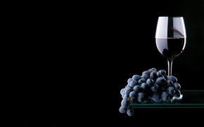 Picture glass, reflection, wine, red, glass, grapes, bunch, shelf