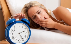 Picture sleeping, sleepy, retro alarm clock
