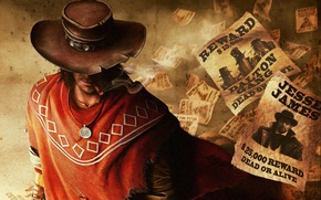 Picture hat, medallion, cigar, the bandits, cowboy, robbers, Call of Juarez: The Gunslinger, cowboy