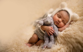 Picture toy, sleep, bear, fur, ears, child, cap, baby