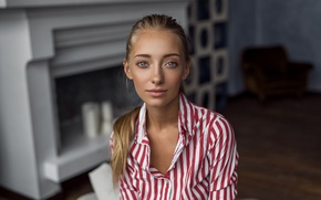 Picture look, girl, strips, face, smile, model, portrait, interior, blonde, light, shirt, Anna, blue-eyed, beautiful, pigtail, …