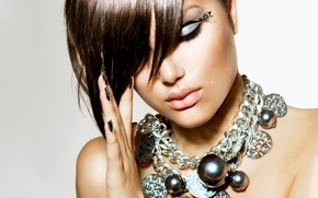 Picture girl, decoration, close-up, background, makeup, brunette, hairstyle, beauty