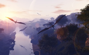 Picture the sky, trees, flight, river, wings, pterodactyls, Dinosaurs