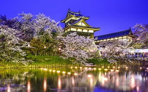 Wallpaper trees, lights, pond, Park, reflection, spring, Japan, Sakura, Japan, pond, Koriyama Castle, Yamatokoriyama, Yamatokoriyama, Kuriyama ...