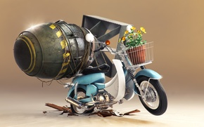 Picture flowers, bomb, pot, scooter