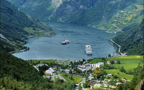 Picture mountains, field, home, ships, Norway, panorama, forest, the fjord, Geiranger