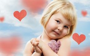 Wallpaper children, child, heart, girl, cute, happy, hearts, child, cute, children, little girl, happy