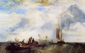 Picture sea, wave, people, boat, ship, picture, sail, seascape, William Turner, Entrance of the Meuse