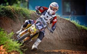Picture motorcycle, helmet, motocross