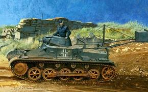 Picture figure, art, the Germans, Panzerkampfwagen I, German light tank, Panzer I, Pz.Kpfw.I with Ejector, T-1, ...