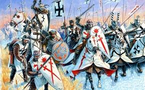Picture red, weapons, attack, black, figure, cross, art, battle axe, shields, mercenary, spears, hats, crossbow, master, …