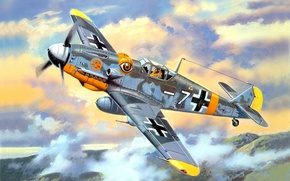 Picture the sky, clouds, figure, fighter, art, German, WW2, Bf - 109G - 6