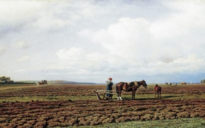 Picture picture, Klodt, K., Michael, Plowing