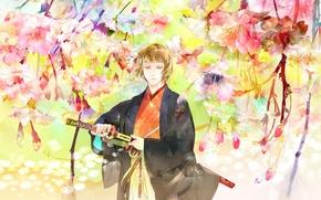 Picture look, flowers, weapons, guy, art, katana, saiga tokihito