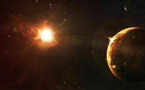 Wallpaper the sun, stars, planet, disaster