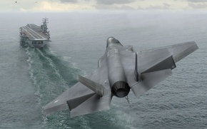 Wallpaper the carrier, landing, f-35A