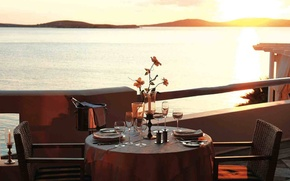 Picture sea, sunset, view, romantic, dining