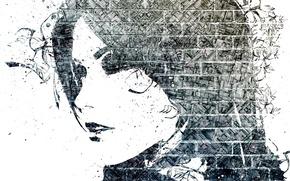 Picture girl, face, brick, profile