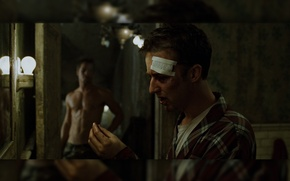 Picture fight, fight club, tooth, Tyler, fight club, Edward Norton, bandage