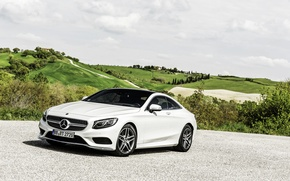 Picture Mercedes-Benz, The sky, Auto, White, Machine, Mercedes, Day, Coupe, S-Class