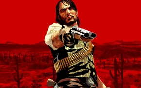 Picture red, hero, Red Dead Redemption, John Marston